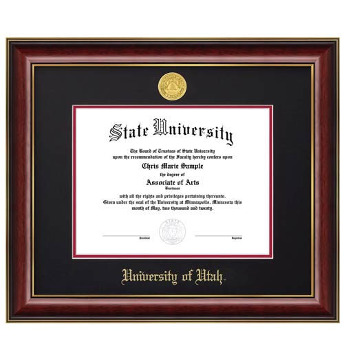 Image For Jostens Classic Diploma Frame Black-Red Matte