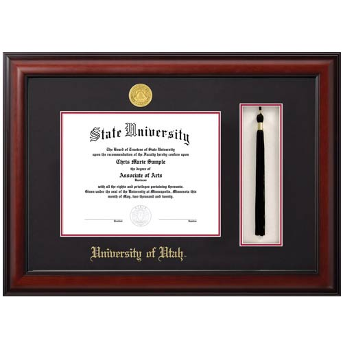 Image For Jostens Meridian Diploma Frame-Tassel Box Black-Red Matte