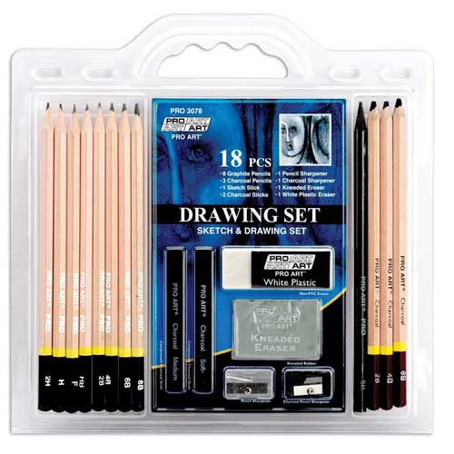 Image For Pro Art 18 Piece Drawing Set