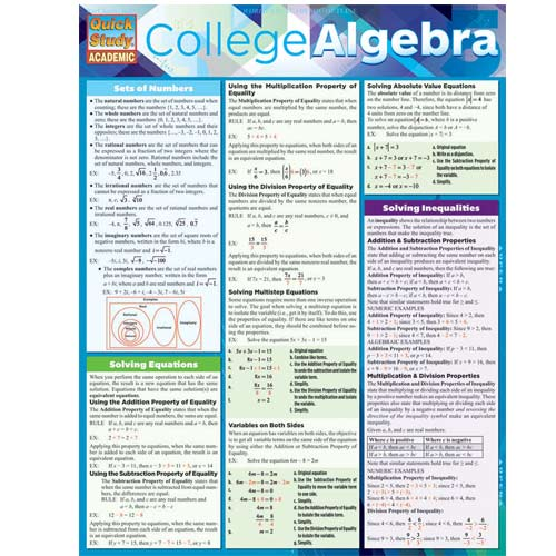 Image For College Algebra Barchart