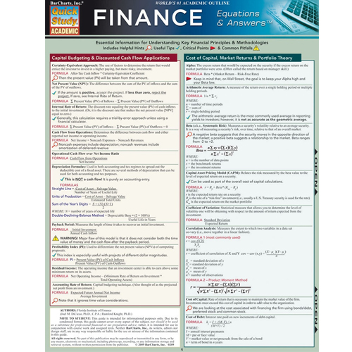 Cover Image For Finance Equations and Answers Barchart