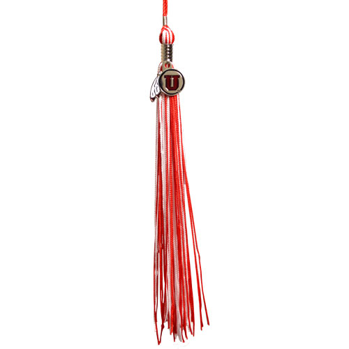 Image For University of Utah Red and White Tassel Athletic Logo Charm