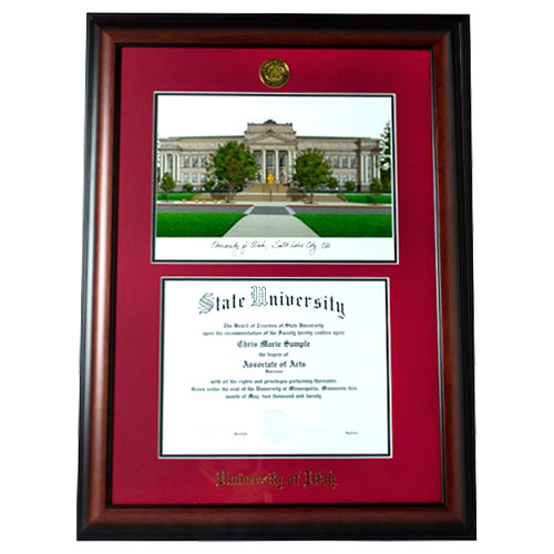 Image For Jostens Meridian Red Mat Diploma Frame - Campus Image