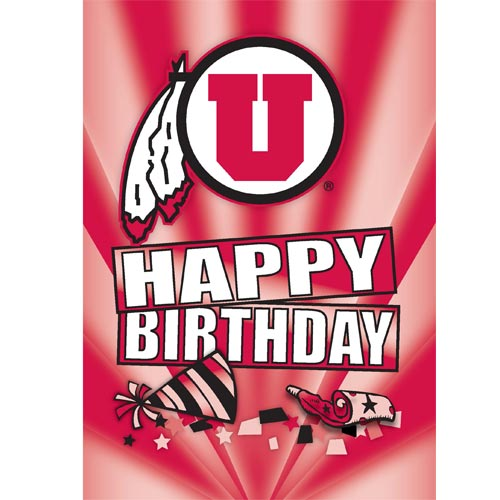 Image For Happy Birthday Utah Utes Athletic Logo Greeting Card