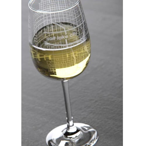Image For College Map Wine Glass