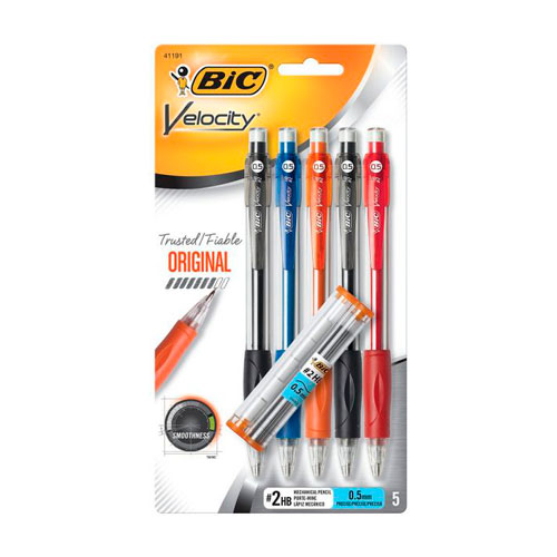 Image For BIC Velocity 0.5mm Mechanical Pencils 5-Pack