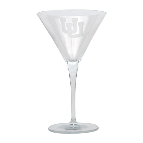Image For Utah Utes Interlocking U Martini Glass