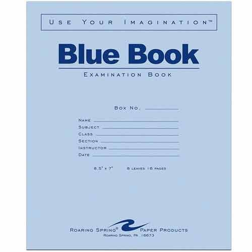 Image For Small Recycled Examination Blue Book