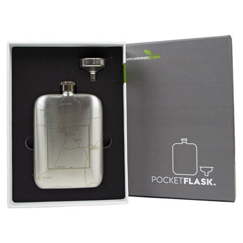 Image For Utah State Polished Silver Flask