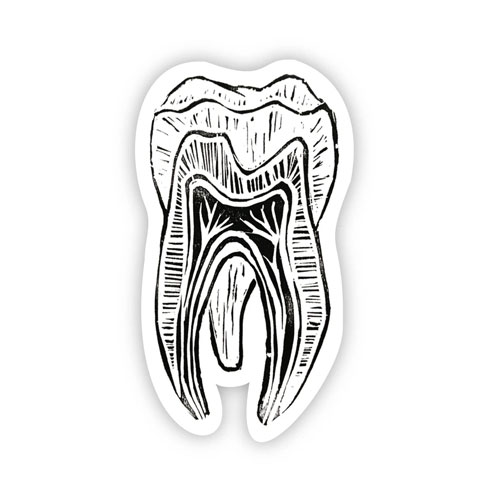 Image For Black & White Tooth Sticker