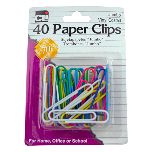 Image For Jumbo Vinyl Colored Paper Clips, 40 Count