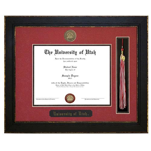 Highland Black Diploma With Tassel Frame-Red Mat